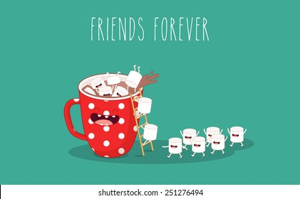 Red cup. Coffee with marshmallows. Vector cartoon. Friends forever. You can use in the menu, in the shop, in the bar, the card or stickers.