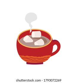 Red Cup with hot chocolate and marshmallows. Vector illustration in a flat style on a white background is isolated.