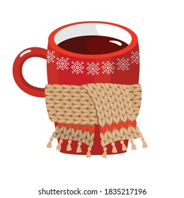 Red Cup of hot coffee with a knitted scarf. Vector, white background, isolated.
