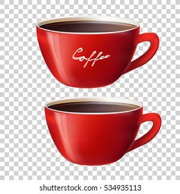 red cup on transparent background. vector