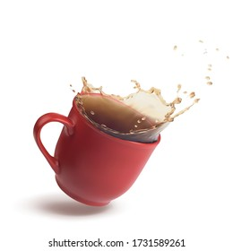 Red cup with a splash of tea or coffee in the dynamics. 3d realistic vector illustration isolated on white background.