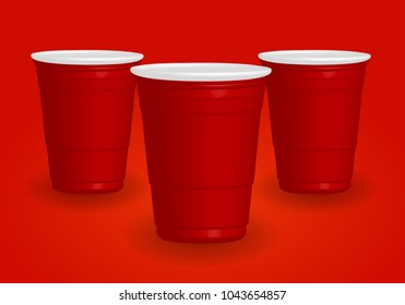 Red cups, it's party time on red background 3d illustration