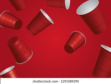 Red cups, it's party time on white  background 3d illustration