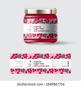 Red Currant Jam label and packaging. Jar with cap with label. White strip with text and on seamless pattern with berries, flowers and leaves.