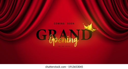 Red curtain background. Grand opening event design. luxury greeting rich card.