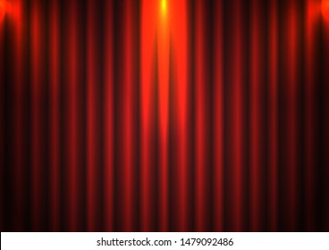 Red curtain background with spotlight in theater. Theatrical drapes stage opening ceremony hall movie light closed velvet fabric textile. Vector illustration