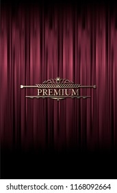 Red curtain. Dark red curtain scene gracefully. Cover with vertical motion blur and text block in the center. Like curtains in theater. Premium vector backdrop with vintage sign