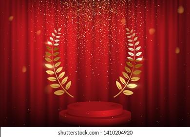 Red curtain, laurel twigs realistic illustration. Golden glitters, bokeh effect. Retro crimson background for text. Winner wreath for cinema festival award nominee. Round frame on velvet backdrop