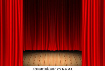 red curtain and light of spotlight on the wooden floor in the dark room
