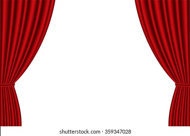 Red curtain opened on  white background. Vector illustration,EPS 10.