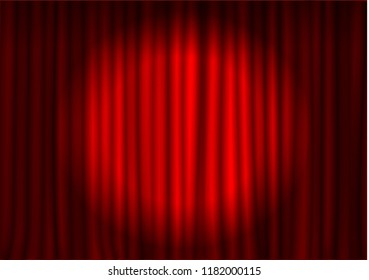 Red curtain with spotlight in theater. Velvet fabric cinema curtain vector. Spotlight on closed curtains decoration. Drama stage background. Vector illustration.