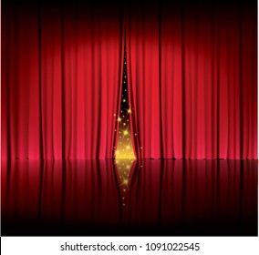 red curtain in the theater, show start, velvet curtain