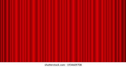 Red curtain. Theatre curtain vector background. Closed red curtain on  theatre stage. Wide panoramic vector.
