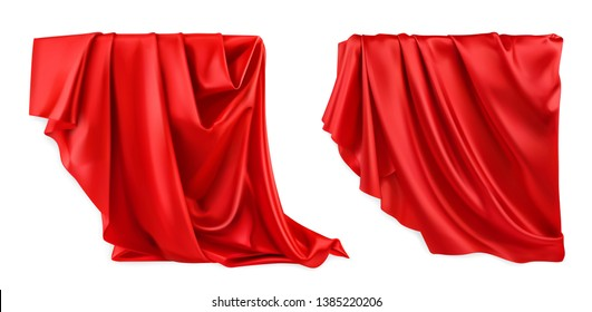 Red curtain vectorized image. Drapery fabric 3d realistic vector