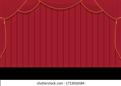 Red curtains on the stage, background. Curtain, vector stock illustration