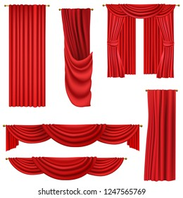 red curtains set isolated on white background vector