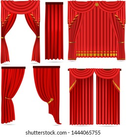 red curtains set isolated on white background ,vector
