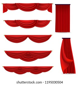 red curtains set of vector images isolated on white background
