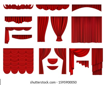 Red curtains. Textile theatrical opera scenes decoration curtains vector realistic collection set