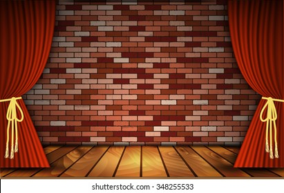 Red curtains or velvet drapes on an old rustic brick wall as a theatrical stage for theater and stand up comedy performance. Vector illustration.