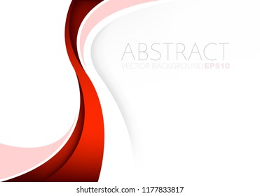 Red curve line vector background overlap layer on white paper space for background design