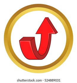 Red curved arrow vector icon in golden circle, cartoon style isolated on white background