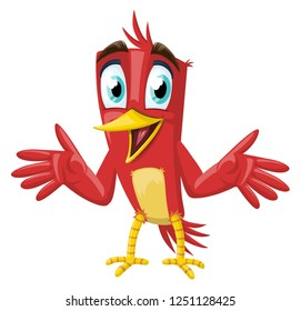 red cute bird happy and talking vector, cute bird cartoon, animation. with yellow foots and cute eyes