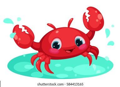 Red cute crab cartoon in water pond