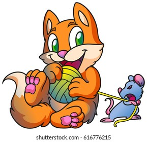 Red cute kitten playing, fight with mouse and clew, vector funny digital illustration, cartoon style.