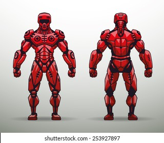 Red Cyborg soldier, vector