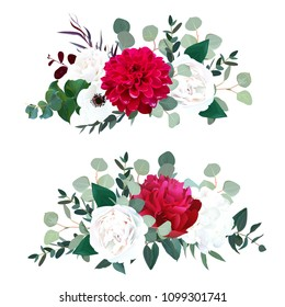 Red dahlia, burgundy peony, white rose, hydrangea, anemone, ranunculus, mint eucalyptus and greenery vector design horizontal bouquets.Beautiful wedding flowers. All elements are isolated and editable
