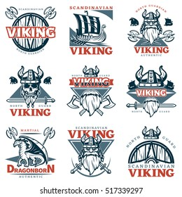 Red and dark blue color viking emblem set with different descriptions on theme vector illustration