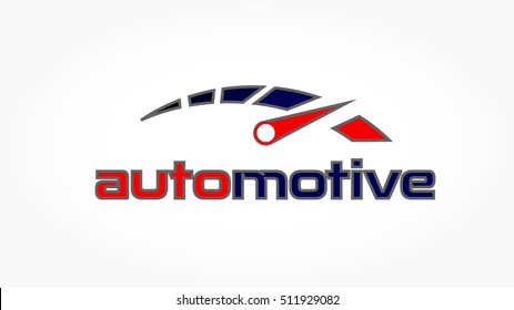 red dark blue speedometer with grey stroke for automotive logo vector