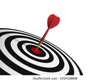 Red dart hit to center of dartboard. Arrow on bullseye in target. Business success, investment goal, opportunity challenge, aim strategy, achievement focus concept. 3d realistic vector illustration