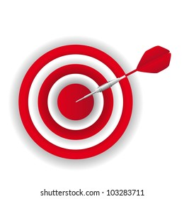 red dart over dartboard over white background. vector illustration