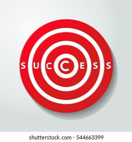Red darts target aim with success word.