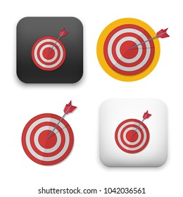 Red darts target aim. Successful shoot. Vector illustration