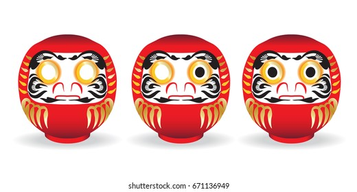 Red DARUMA doll, Japanese traditional lucky doll on white background. The Japanese believe that paint left eye for making a wish and paint right after the wish fulfilled. Vector illustration