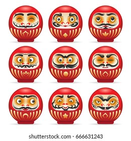 Red daruma dolls from japan isolated on white. Dharma charming pop culture japanese monk daruma doll temples vector