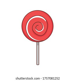 red Valentine's day Lollipop  isolate  on white background. Flat style object.simple design.