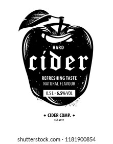 Red Delicious apple, cider label template in black and white vintage style, beverage package design