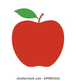 Red delicious or Fuji apple fruit with leaf flat vector icon for food apps and websites