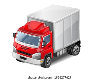 Red delivery truck. Vector Illustration.