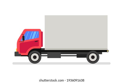 Red delivery van. Express delivery services commercial truck. Flat vector illustration.