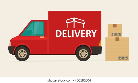 Red delivery van with shadow and cardboard boxes with fragile signs. Product goods shipping transport. Fast service truck