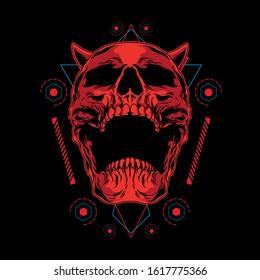 red demon skull illustration with sacred geometry