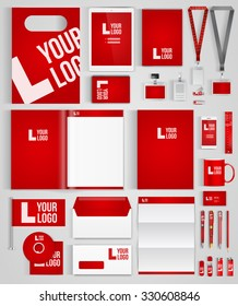 Red design template of corporate identity  with big set of business stationery. Vector illustration