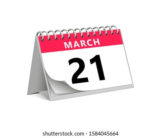 red desk paper spring month of march 21 date - calendar page vector illustration