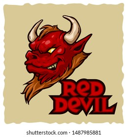 Red Devil character mascot logo. Red and brown color. Lettering logotype evil mascot on light background