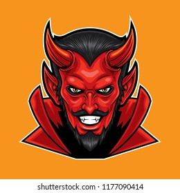Red Devil head mascot design.